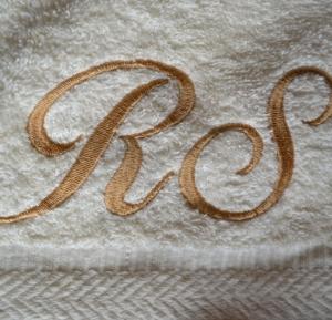 Rankšluostis su logo